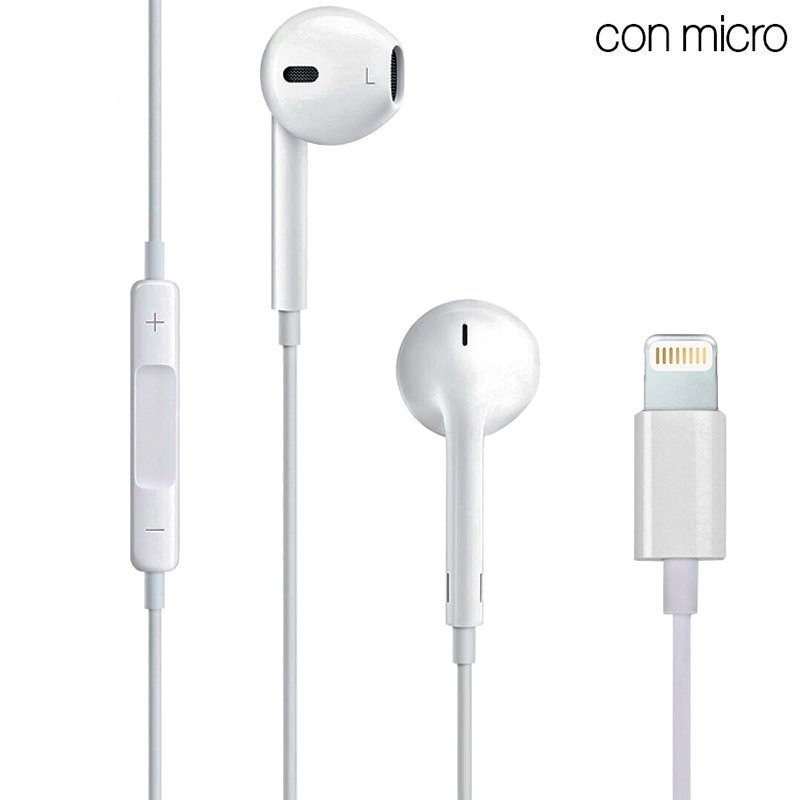 Auriculares Blancos Stereo Con Micro iPHONE 7 / 8 / X (Lightning Bluetooth)
