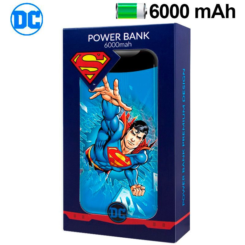 Bateria Externa Micro-usb Power Bank 6000 mAh Licencia DC Superman