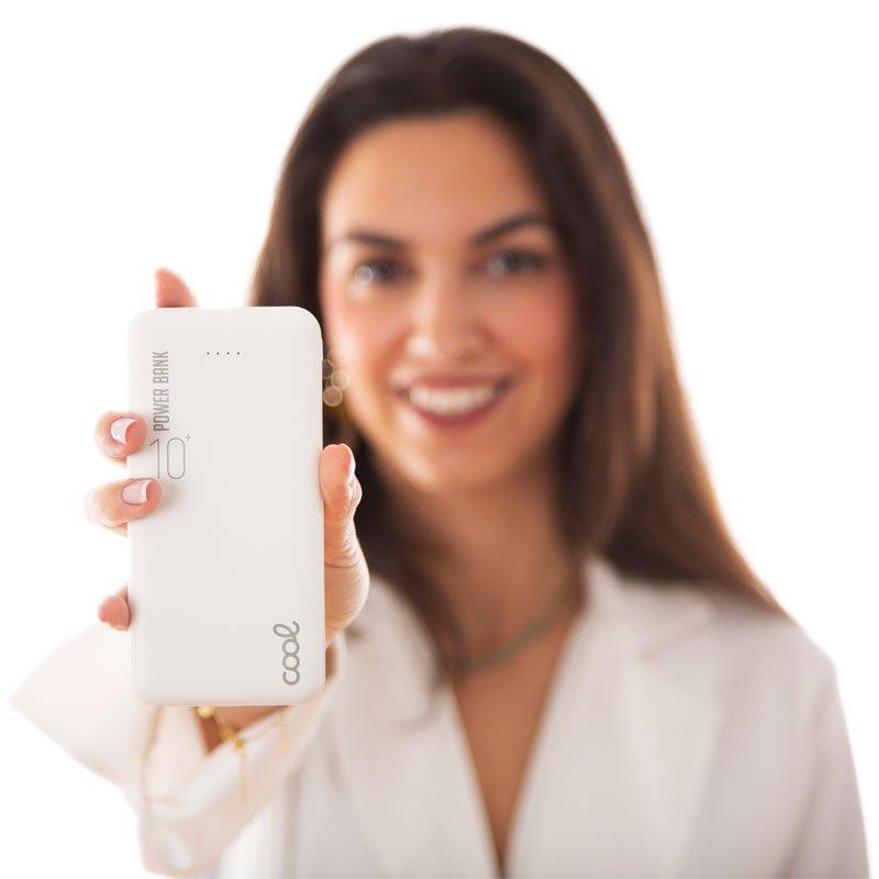 Bateria Externa Universal Power Bank 10.000 mAh (2 x usb / 2.1A) COOL Leather Blanco