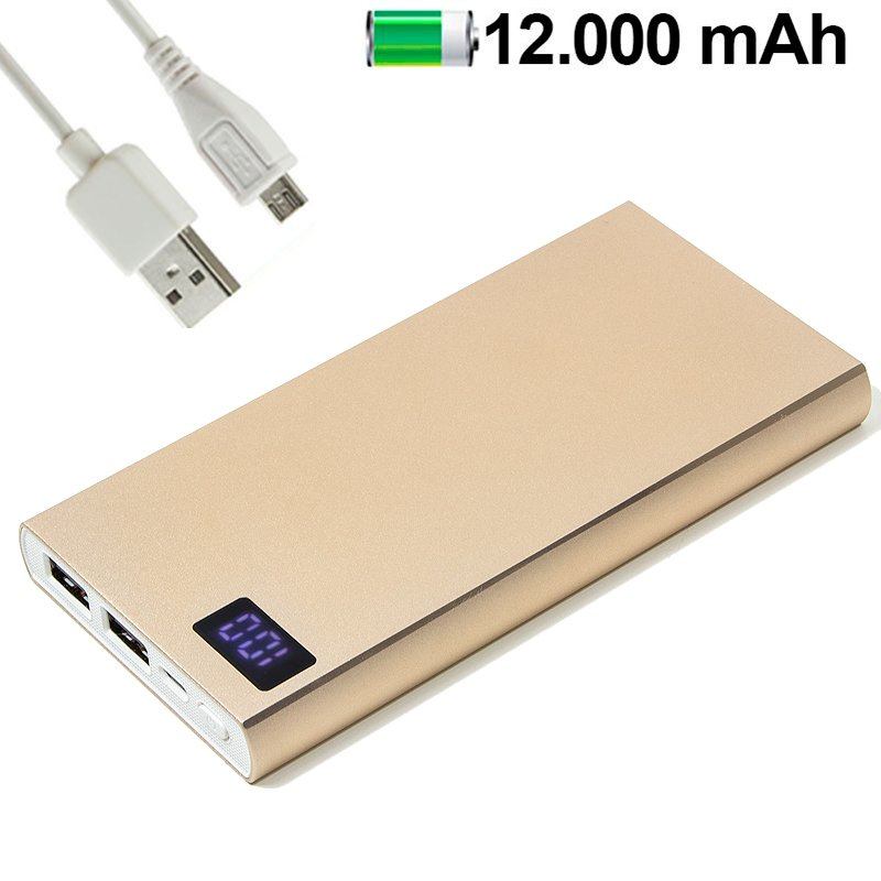 Bateria Externa Universal Power Bank 12.000 mAh Metal Dorado