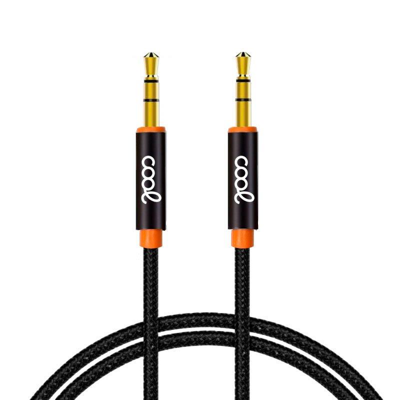 Cable Jack 3.5 mm a Jack 3.5 mm Audio-Audio Nylon Negro (1m)