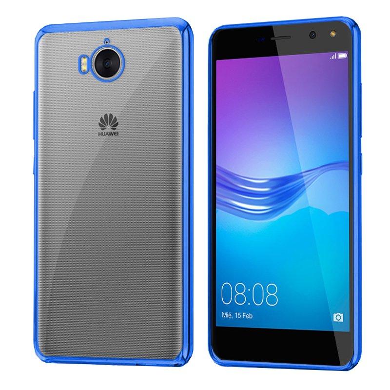 Carcasa Huawei Y6 (2017) Borde Metalizado (Azul)