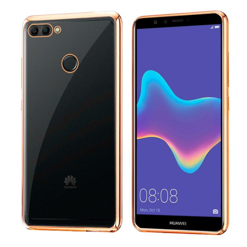 Carcasa Huawei Y9 (2018) Borde Metalizado (Dorado)