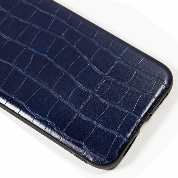 Carcasa iPhone 11 Leather Crocodile Marino