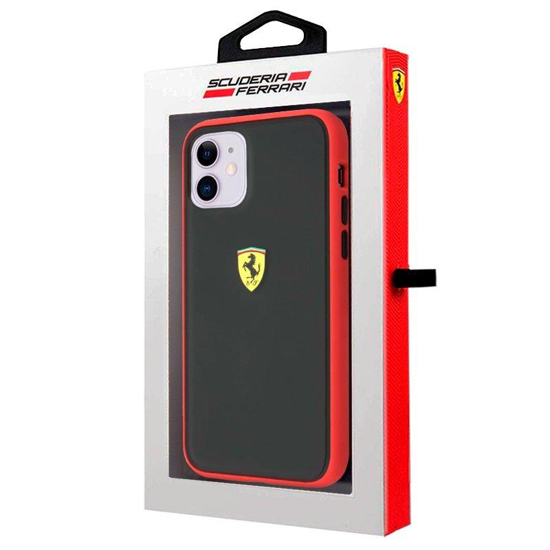 Carcasa iPhone 11 Licencia Ferrari Negro Borde Rojo