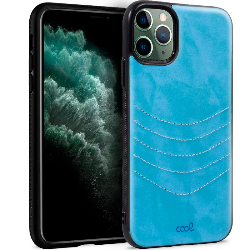 Carcasa iPhone 11 Pro Max Leather Bordado Celeste