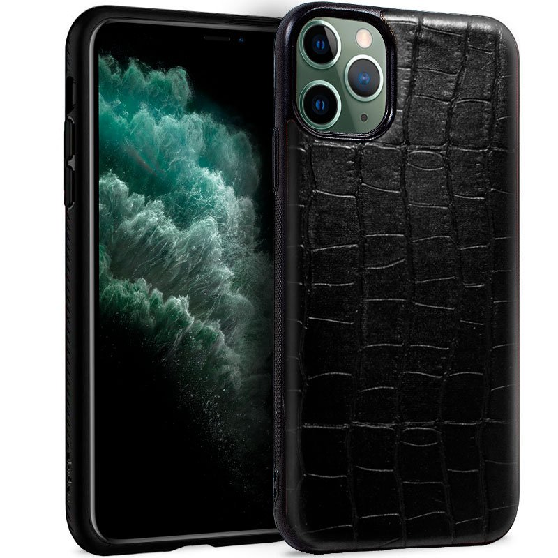 Carcasa iPhone 11 Pro Max Leather Crocodile Negro