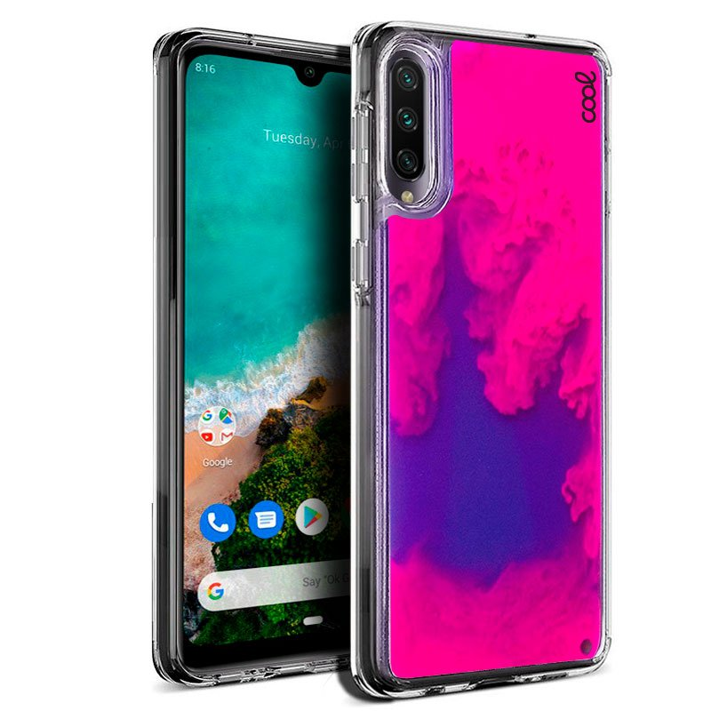 Carcasa Xiaomi Mi A3 Glitter Neon Rosa