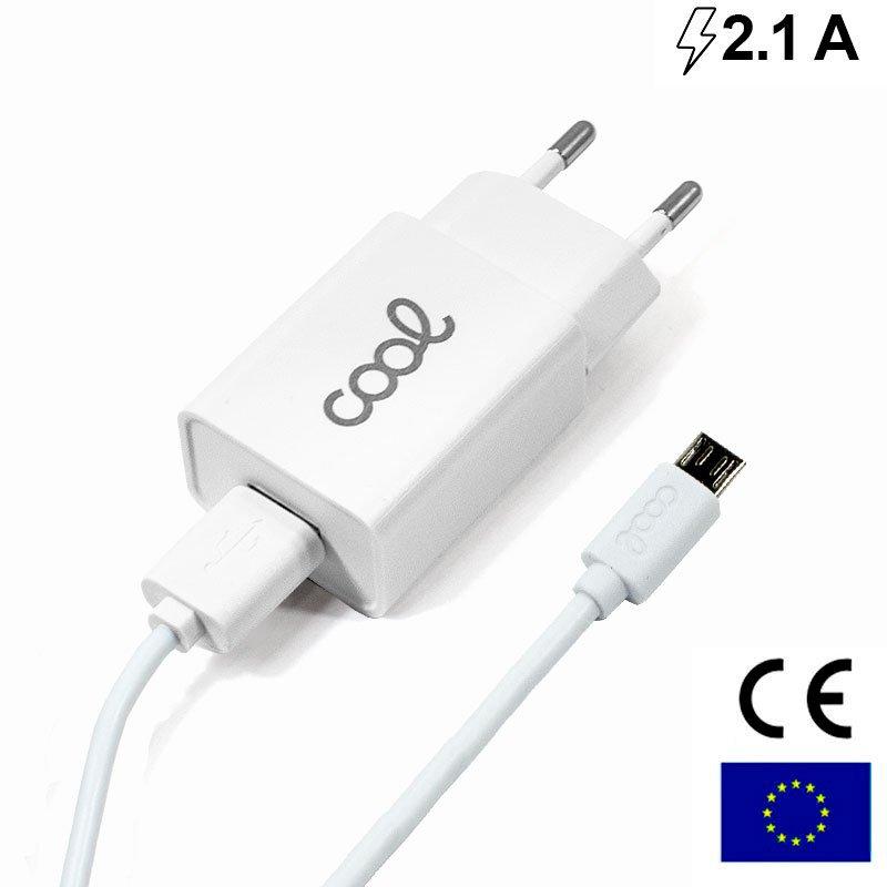 Cargador Red Conector Micro-usb COOL Universal 2.1Amp Kit 2 en 1 Blanco