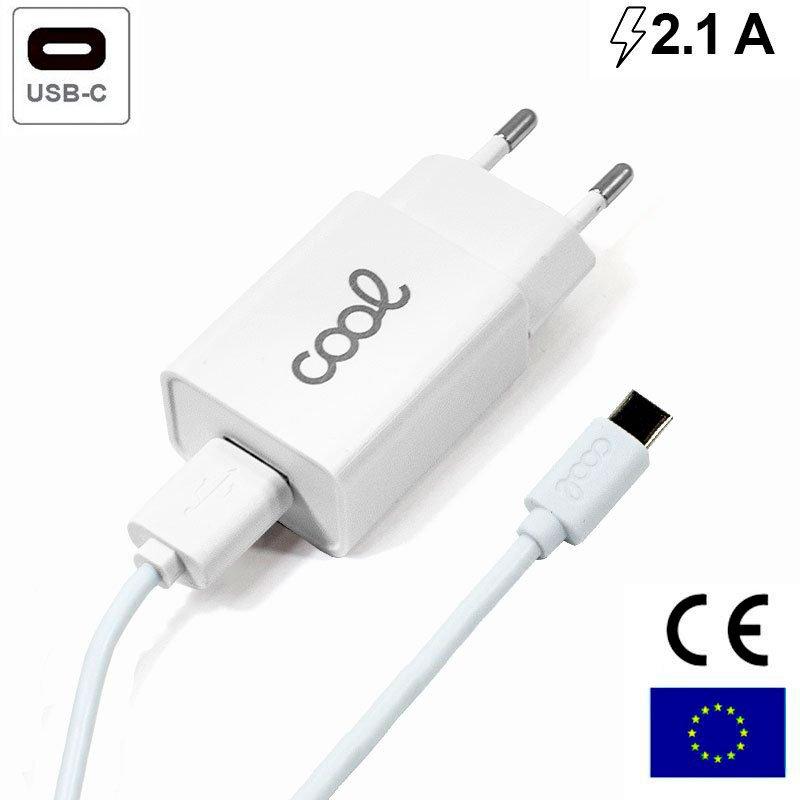 Cargador Red Conector Tipo-C 2.1Amp Universal COOL Kit 2 en 1 Blanco