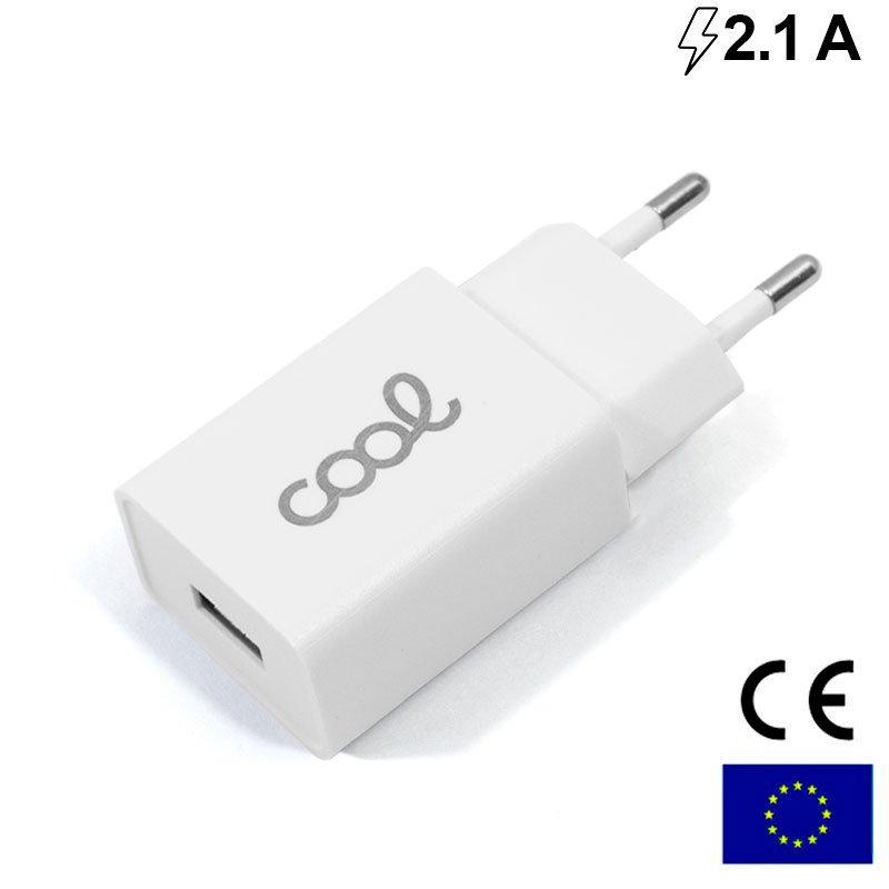 Cargador Red Universal Entrada 1 x USB COOL 2.1 Amperios Blanco