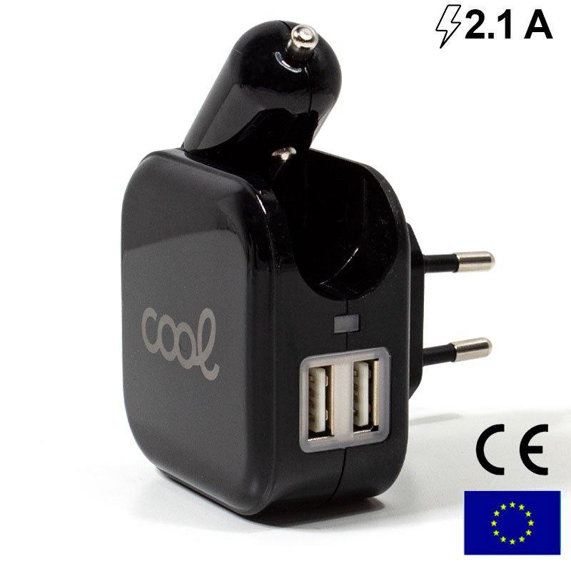 Cargador Universal Entrada 2 x USB + Cargador de Coche (2.1 Amp)