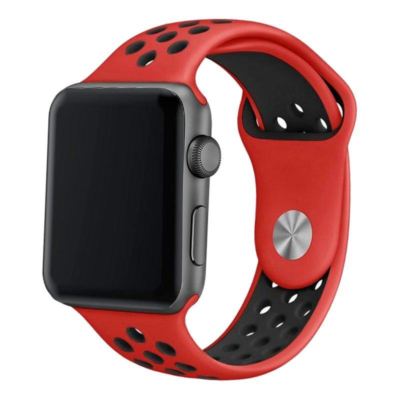 Correa Apple Watch Series 1 / 2 / 3 / 4 / 5 / 6 / SE (42 / 44 mm) Sport Rojo-Negro