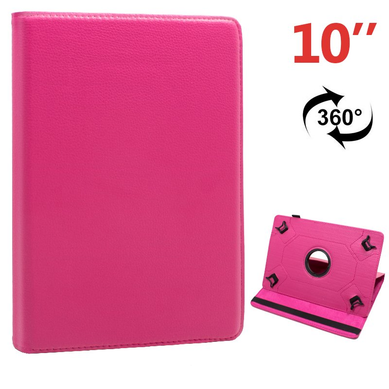 Funda Ebook Tablet 10 pulgadas Polipiel Giratoria Rosa