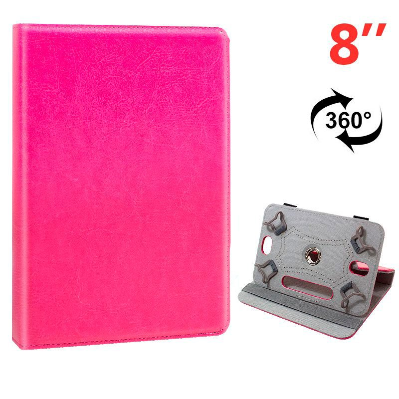 Funda Ebook / Tablet 8 pulgadas Liso Rosa Giratoria