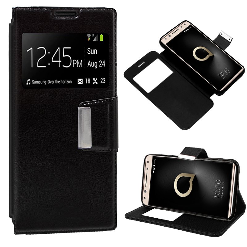 Funda Flip Cover Alcatel 5 Liso Negro