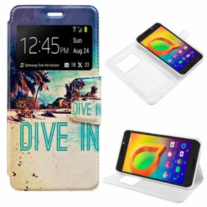 Funda Flip Cover Alcatel A3 Dibujos Beach