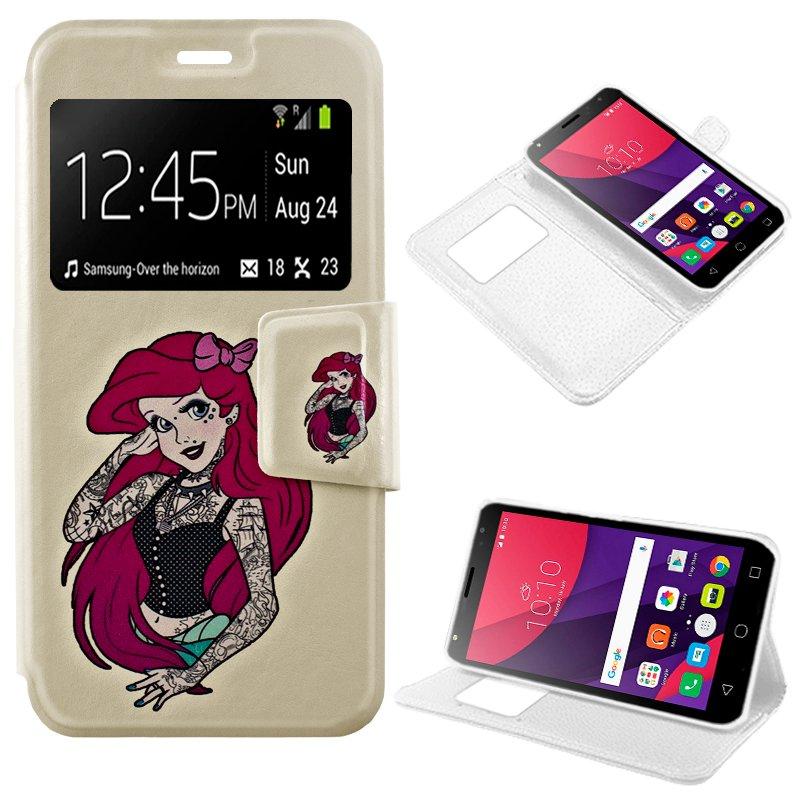 Funda Flip Cover Alcatel Pixi 4 (5) 3G Dibujos Girl