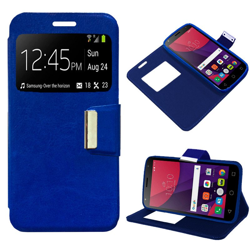 Funda Flip Cover Alcatel Pixi 4 (5) 4G / Smart Turbo 7 Liso Azul