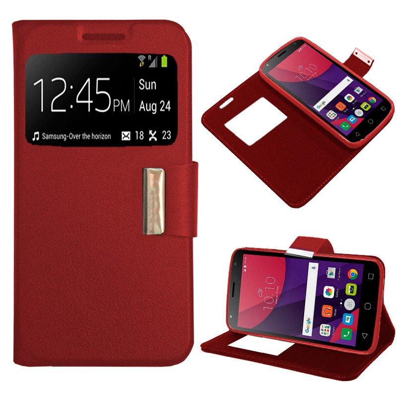 Funda Flip Cover Alcatel Pixi 4 (5) 4G / Smart Turbo 7 Liso Rojo