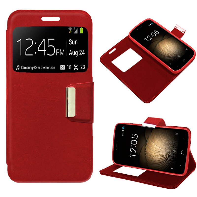 Funda Flip Cover BQ Aquaris U Plus Liso Rojo