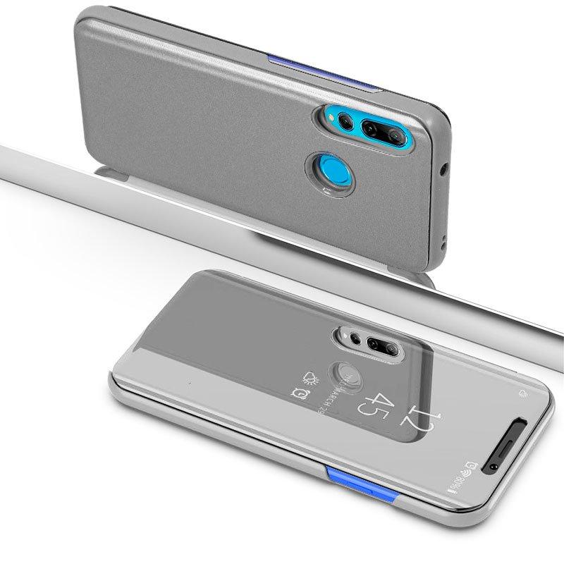 Funda Flip Cover Huawei P Smart Plus (2019) / P Smart (2019) / Honor 10 Lite / 20 Lite Clear View Plata