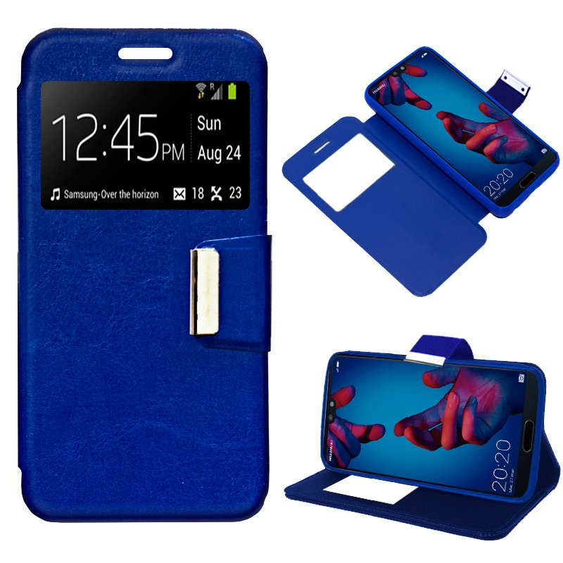 Funda Flip Cover Huawei P20 Liso Azul