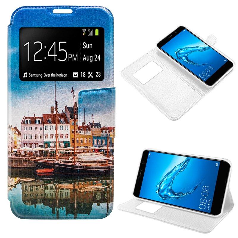 Funda Flip Cover Huawei Y7 Dibujos Lago