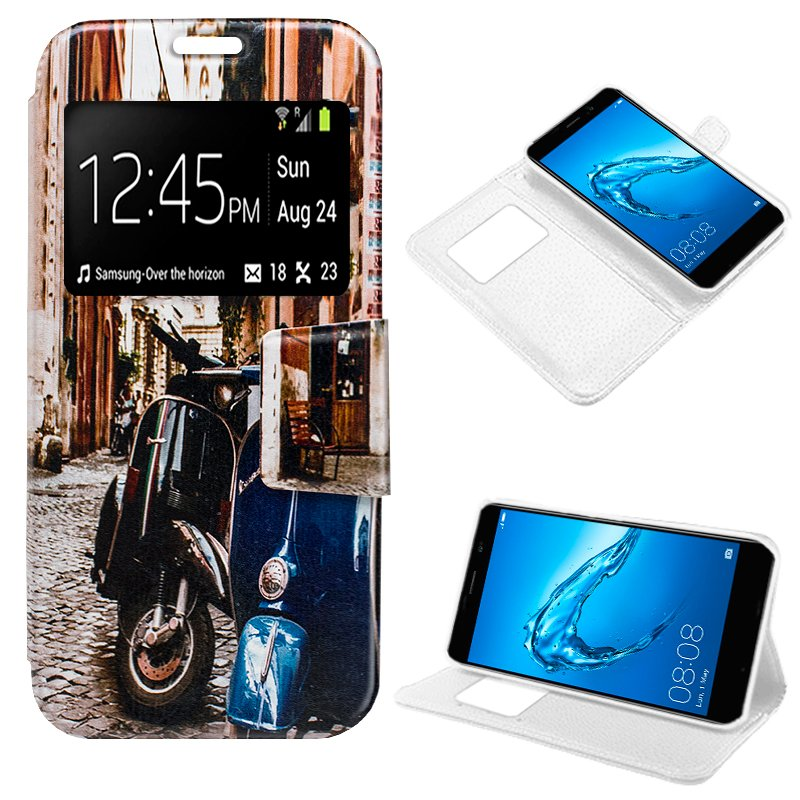 Funda Flip Cover Huawei Y7 Dibujos Moto