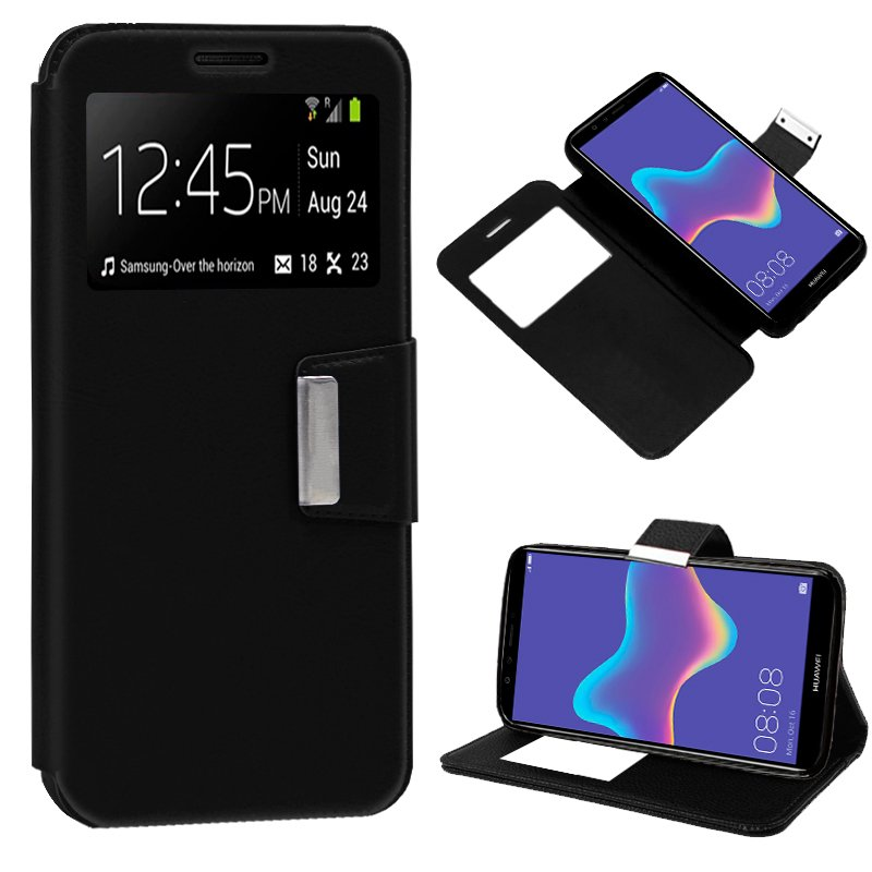 Funda Flip Cover Huawei Y9 (2018) Liso Negro