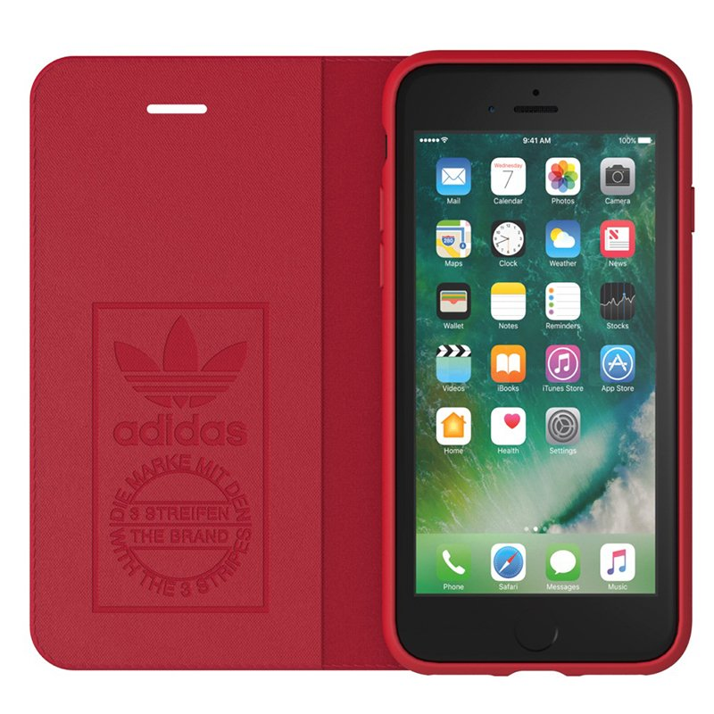 Funda Flip Cover iPhone 6 / 7 / 8 / SE (2020) Licencia Adidas Rojo