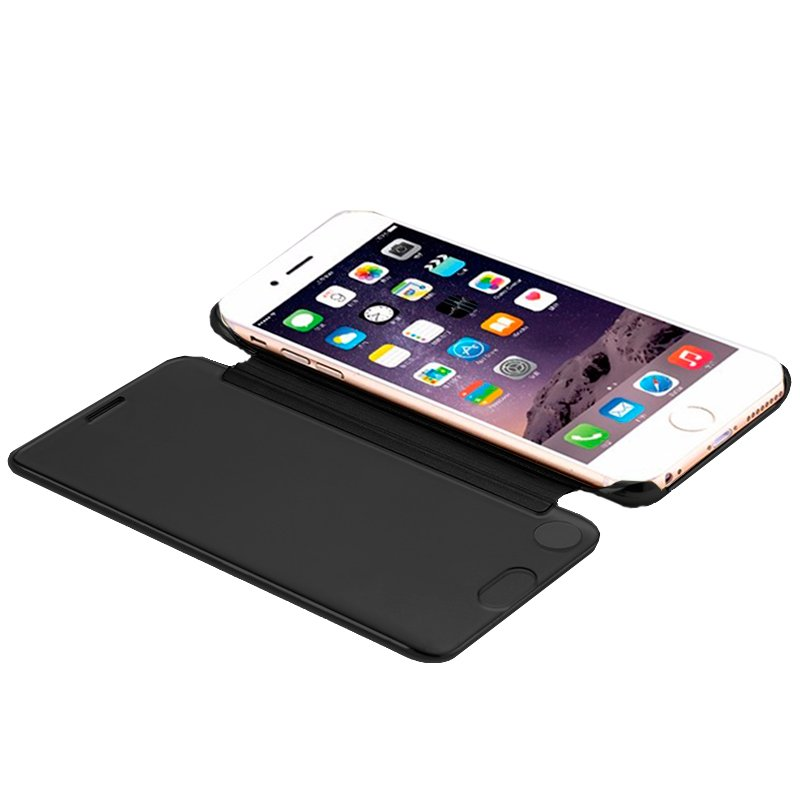 Funda Flip Cover iPhone 7 / 8 / SE (2020) Clear View Negro