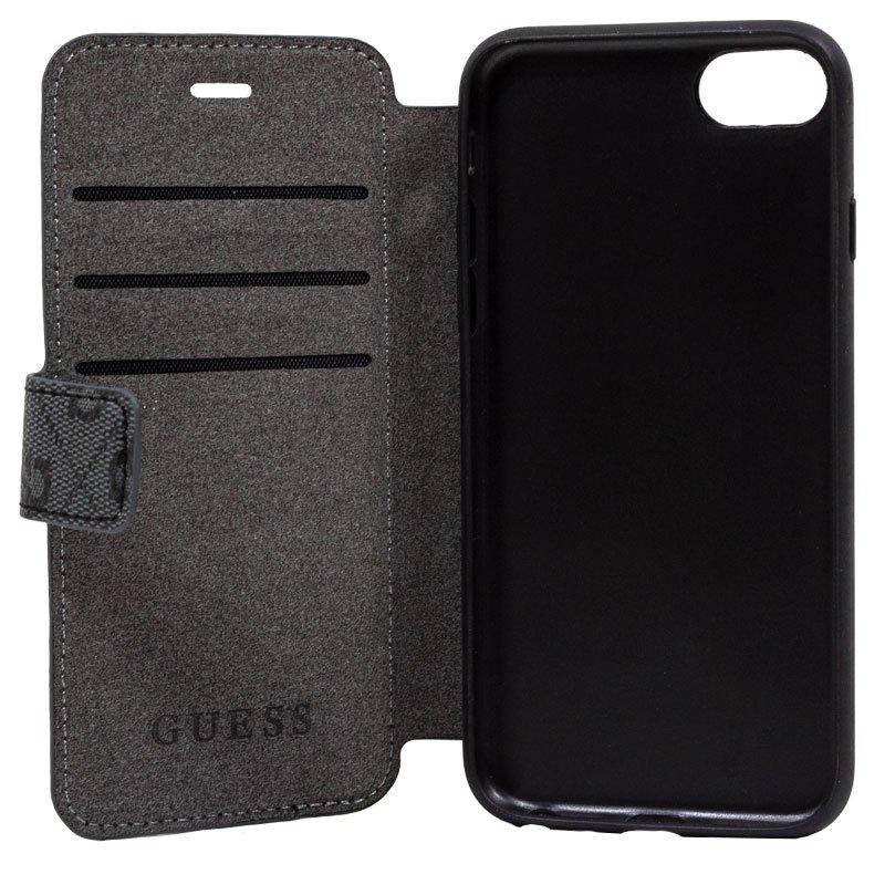 Funda Flip Cover iPhone 7 / 8 / SE (2020) Licencia Guess Tela Negro