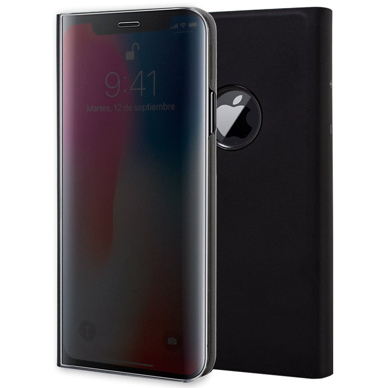 Funda Flip Cover iPhone X / iPhone XS Clear View Negro