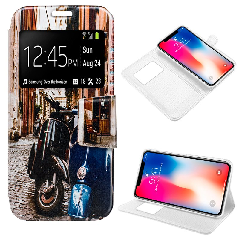 Funda Flip Cover iPhone X / iPhone XS Dibujos Moto