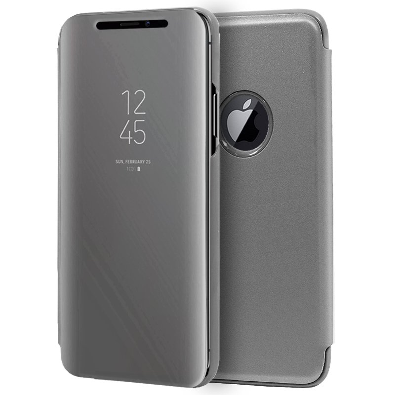 Funda Flip Cover iPhone XS Max Clear View Plata