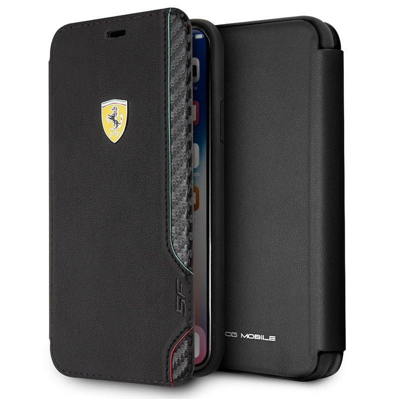 Funda Flip Cover iPhone XS Max Licencia Ferrari Negro