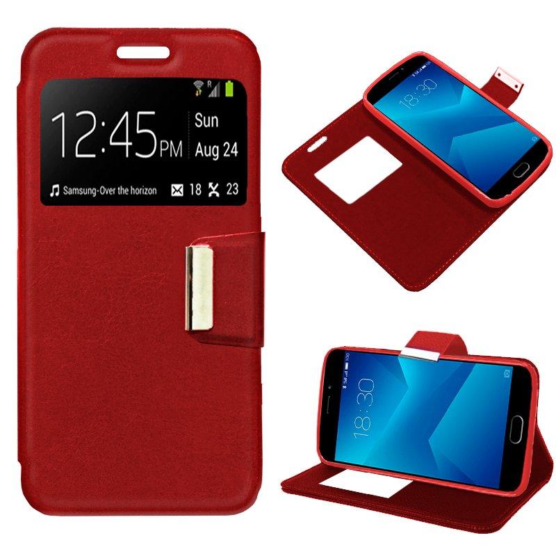 Funda Flip Cover Meizu M5 Note Liso Rojo