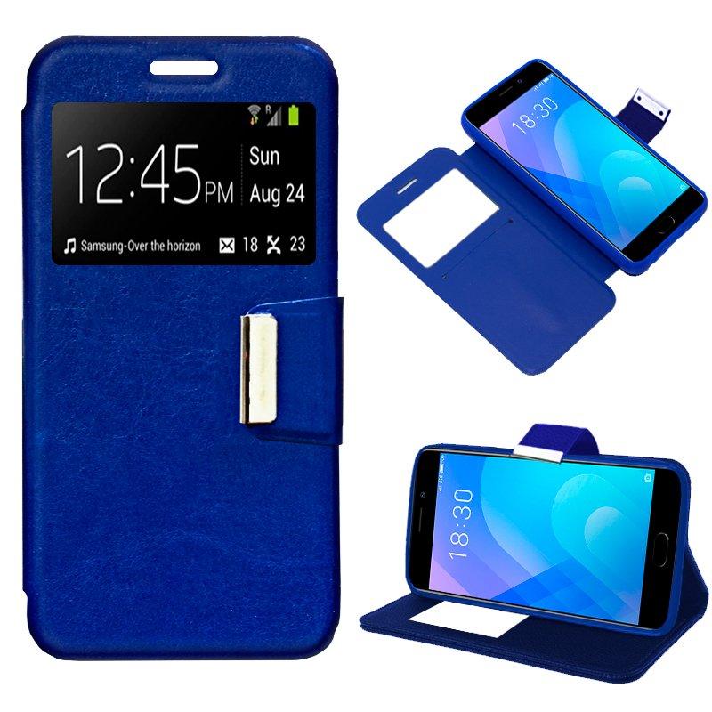 Funda Flip Cover Meizu M6 Note Liso Azul
