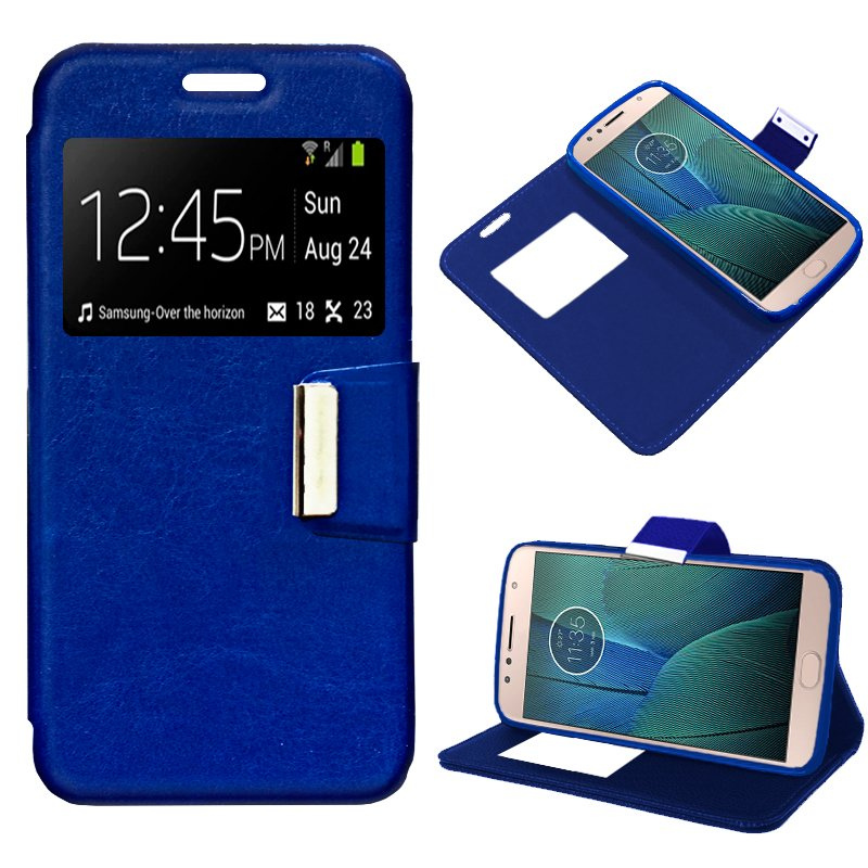 Funda Flip Cover Motorola Moto G5S Plus Liso Azul
