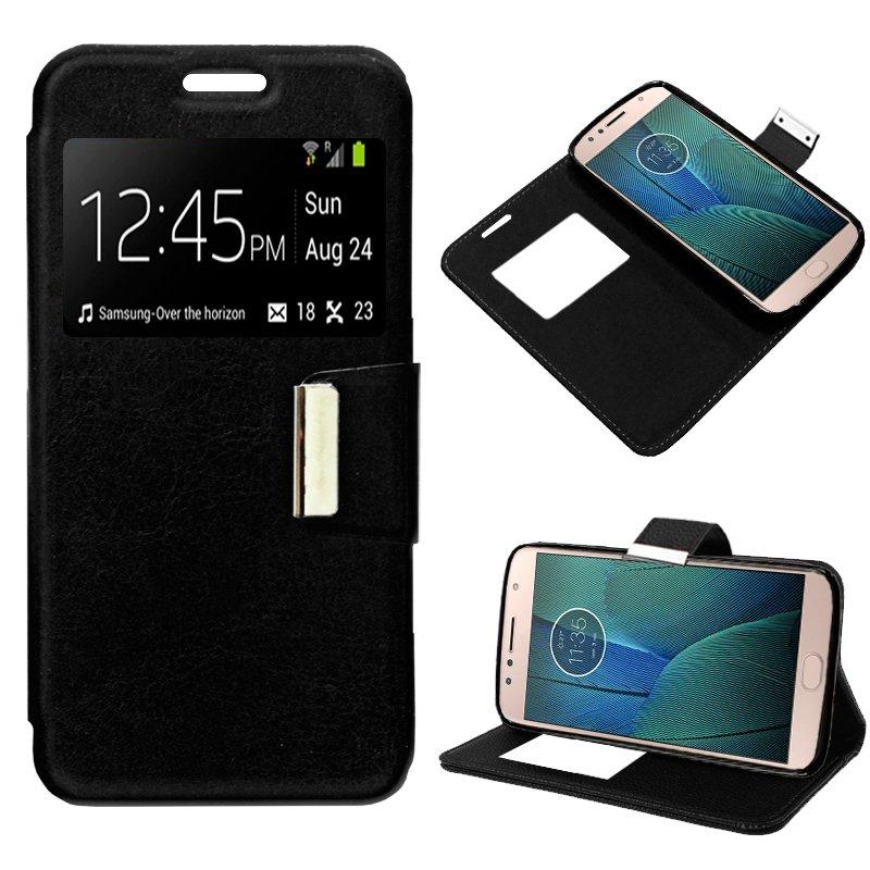 Funda Flip Cover Motorola Moto G5S Plus Liso Negro
