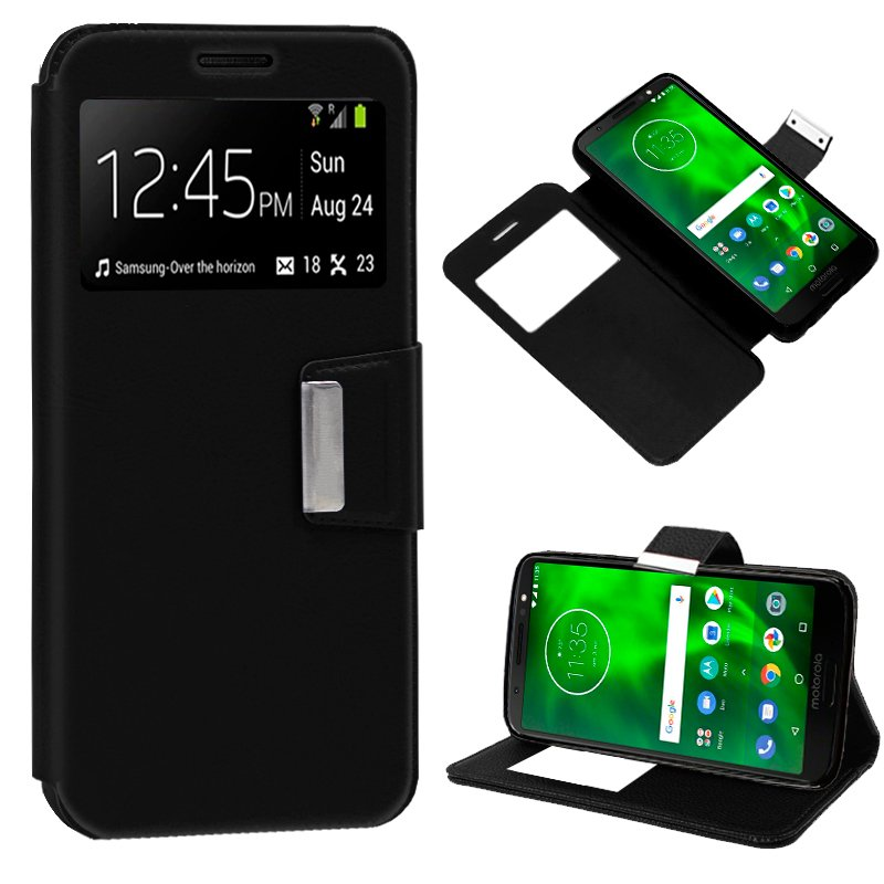 Funda Flip Cover Motorola Moto G6 Liso Negro
