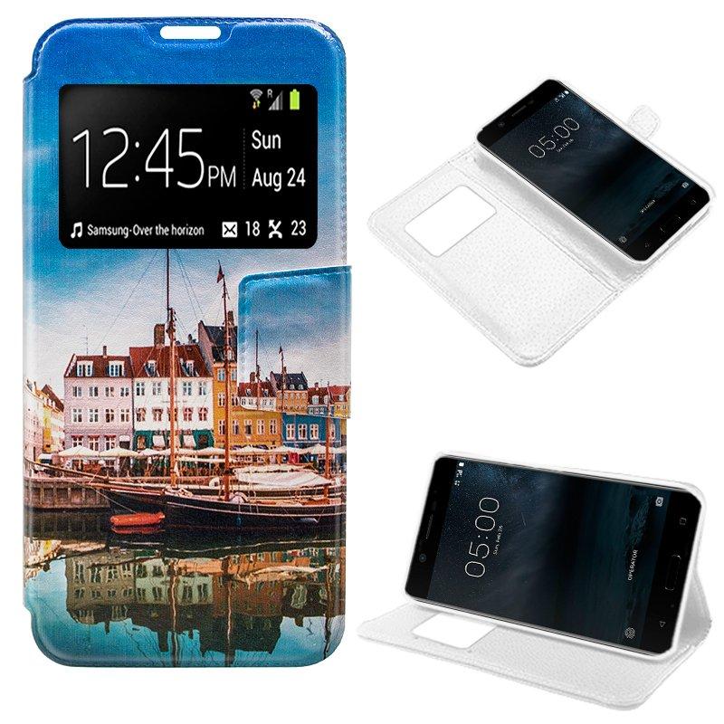 Funda Flip Cover Nokia 5 Dibujos Lago