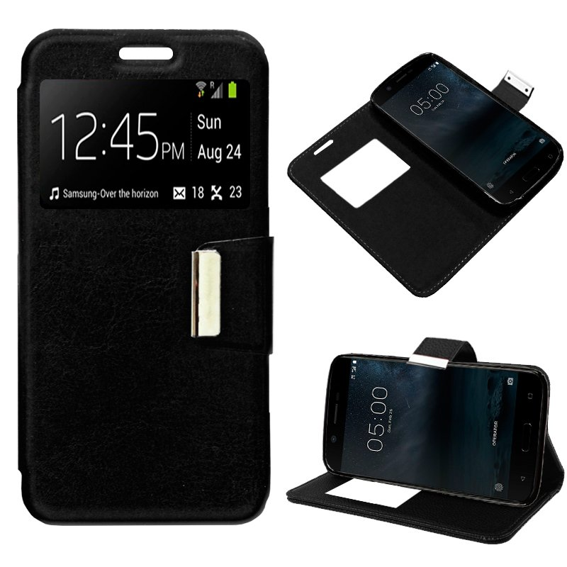 Funda Flip Cover Nokia 5 Liso Negro