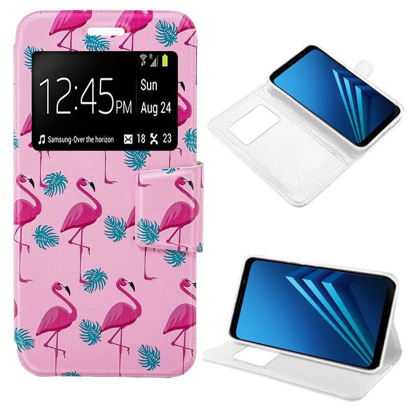 Funda Flip Cover Samsung A530 Galaxy A8 (2018) Dibujos Flamencos