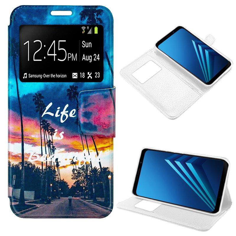 Funda Flip Cover Samsung A530 Galaxy A8 (2018) Dibujos Life