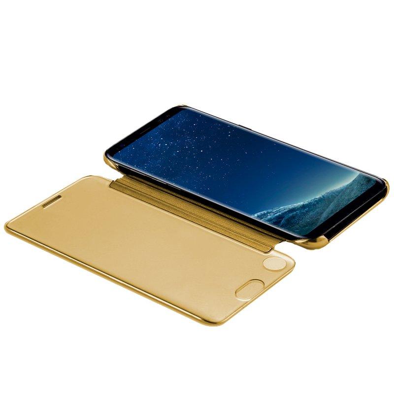 Funda Flip Cover Samsung G955 Galaxy S8 Plus Clear View Dorado
