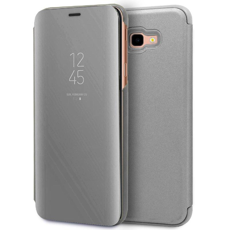 Funda Flip Cover Samsung J415 Galaxy J4 Plus Clear View Plata