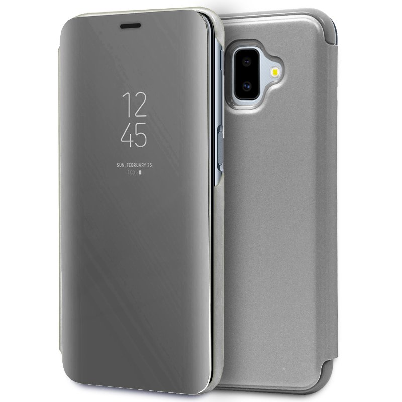 Funda Flip Cover Samsung J610 Galaxy J6 Plus Clear View Plata