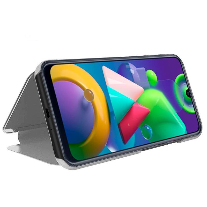 Funda Flip Cover Samsung M215 Galaxy M21 / M31 Clear View Plata